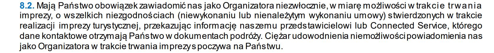 obrazek wskazuje wyjątek owu biura podróży neckermann informujący, że turysta musi udowodnić iż nie mógł niezwłocznie poinformować rezydenta o niezgodnościach w umowie co było obowiązkiem podróżnego