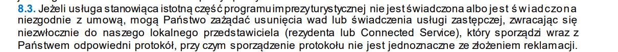 obrazek wskazuje wyjątek owu biura podróży neckermann informujący o obowiązku sporządzenia protokołu nieprawidłowości