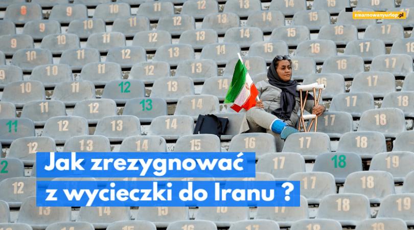 ilustracja wpisu blogowego o tym jak zrezygnować z wykupionej w biurze podróży wycieczki do iranu samotna kobieta z flagą iranu siedzi na trybunach sportowych