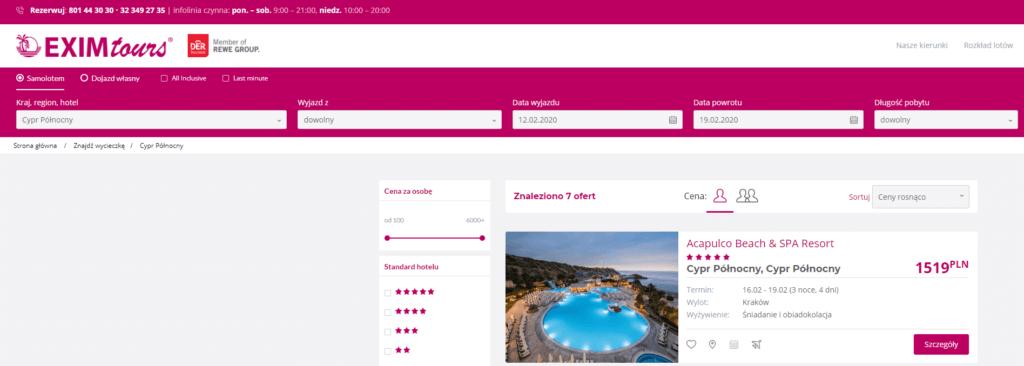 zrzyt ekranu pokazujący że hotel acapulco resort jest nadal w ofercie biura podróży exim tours
