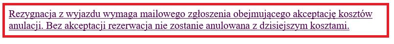 fragment maila od wakacje.pl do klienta na temat warunków rezygnacji z wycieczki pod warunkiem zaakceptowania kosztów anulacji będący ilustracją wpisu blogowego dotyczącego możliwości odstąpienia od umowy z touroperatorem