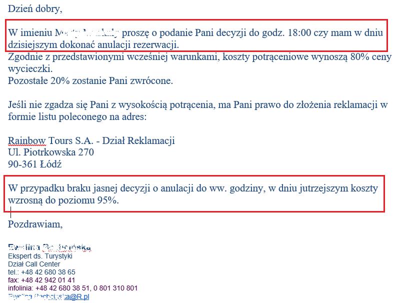 fragment maila biura podróży rainbow tours do klienta z informacją o konieczności podjęcia decyzji w sprawie rezygnacji do godziny 18 będący ilustracją wpisu blogowego dotyczącego możliwości odstąpienia od umowy z touroperatorem