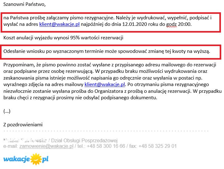 fragment maila od wakacje.pl do klienta na temat możliwości rezygnacji z wycieczki pod warunkiem zaakceptowania wysokich kosztów anulacji będący ilustracją wpisu blogowego dotyczącego możliwości odstąpienia od umowy z touroperatorem