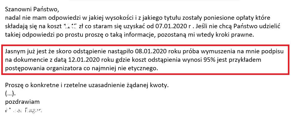 fragment maila do wakacje.pl od klienta na temat wymuszenia przez wakacje.pl akceptacji wysokich kosztów anulacji będący ilustracją wpisu blogowego dotyczącego możliwości odstąpienia od umowy z touroperatorem