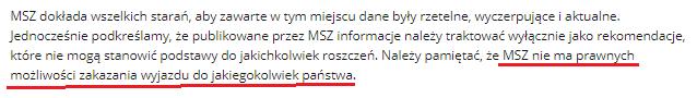 fragment informacji ministerstwa spraw zagranicznych dotyczący tego że msz nie ma prawnych możliwości zakazania wyjazdu do jakiegokolwiek państwa