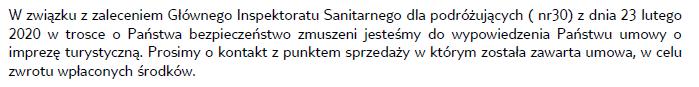 fragment informacji przekazywanej przez biuro podróży TUI swoim klientom w związku z zaleceniem Głównego Inspektoratu Sanitarnego oraz wypowiedzenie umowy o imprezę turystyczną