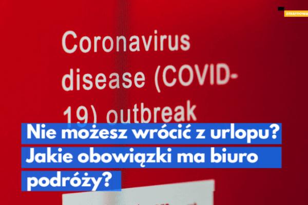 czerwona plakietka z napisem informujacym o wybuchu epidemii koronawirusa ilustracja wpisu blogowego na temat przypadków koronawirusa w hotelu i przymusowej kwarantanny obejmujacej turystów