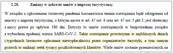 fragment rządowego uzasadnienia do projektu specustawy dotyczącej branży turystycznej