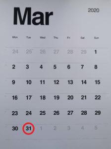 widok kartki z kalendarza z marca 2020 z zaznaczoną na czerwoną datą 31 marca