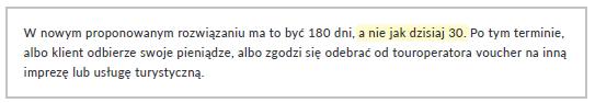 Fragment artykułu prasowego w dzienniku Rzeczpospolita zawierający błędną informację o terminie zwrotu środków wpłaconych przez klientów biur podróży