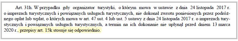 fragment art. 31 ustęp h specustawy dotyczącej branży turystycznej
