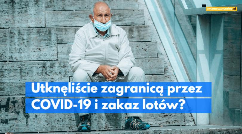 mężczyzna w maseczce siedzący na schodach ilustracja wpisu blogowego na temat praw klientów biur podróży którzyz powodu koronawirusa i zakazu lotów utknęli zagranicą