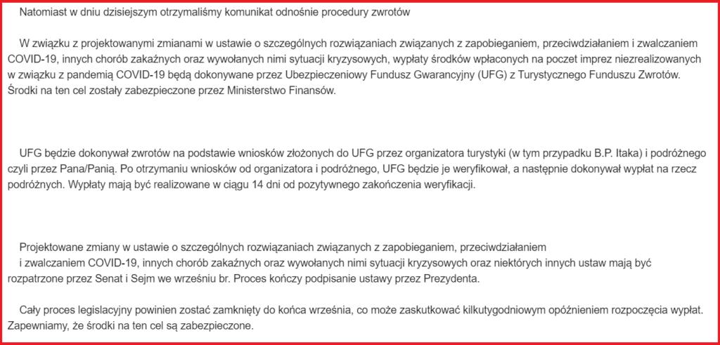 fragment informacji jaką dostaja klienci biura podrózy itaka w sprawie procedury zwrotów za opłacone wczasy