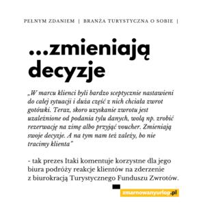 plansza z cytatem Piotra Henicza z biura podróży Itaka na temat voucherów jako alternatywy wobec procedury odzyskiwania pieniędzy przez UFG