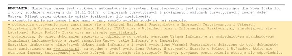 fragment disclaimera biura podróży itaka mówiąc o tym że klient potwierdza znajomość wszystkich dokumentów