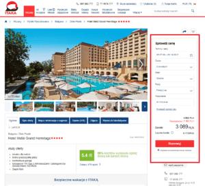 zrzut ekranu strony biura podróży Itaka ze szczegółami oferty wycieczki samolotem