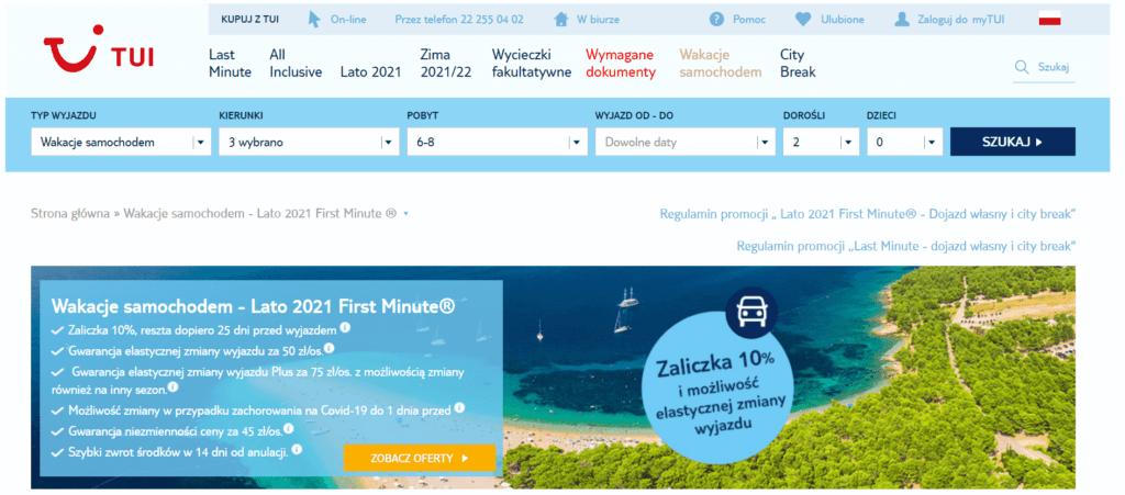 zrzut ekranu biura podróży tui pokazujący jak ten touroperator zachęca klientów do wyboru opcji z dojazdem własnym