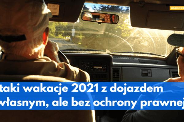 widok z tylnego siedzenia samochodu na kierowcę i pasażerkę ilustracja wpisu blogowego o wakacjach z dojazdem własnym z biurem podróży itaka