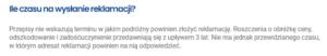 zrzut ekranu ze strony europejskiego centrum konsumenckiego wskazujący ile czasu maja klienci biura podróży na wysłanie reklamacji do touroperatora